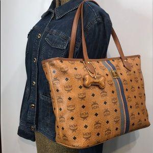Authentic MCM Cognac Leather Zip Tote Shoulder Bag